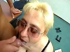 Guy cums in mouth of fat secretary