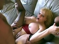 Horny busty babe ass fucked on sofa