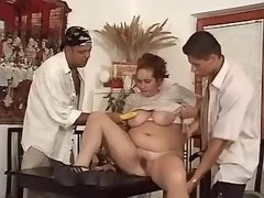 Fat mature lady gets facial in cafe