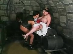 Guy fucks fat busty chick in cellar