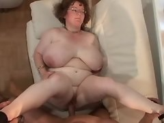 Fat granny gets cum on giant boobs
