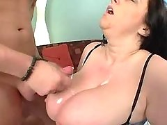 Chubby mature gets cum on melons