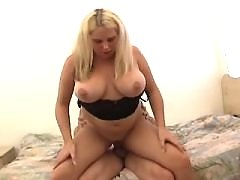 Blonde chubby girl gets cum on face