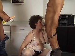 Plump mature sucks and dildofucks