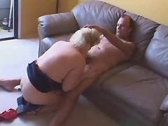 Blonde BBW sucks fat cock on sofa