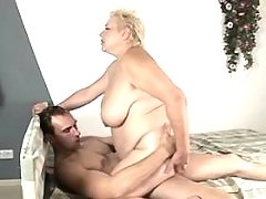 Mature fatty gets cumload on face